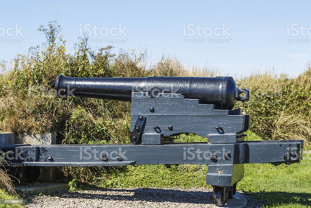 Old Black Cannon on Green Hill stock photo