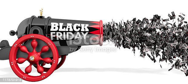 istock Old black cannon with the words BLACK FRIDAY firing a stream of discount coupons from 10 to 80 percent in black and white on a white background. 3D Illustration 1173701915