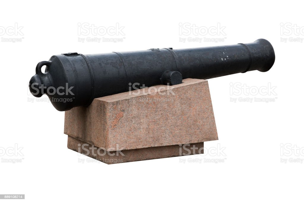 Old Black Cast Iron Cannon On Marble Pedestal Stock Photo