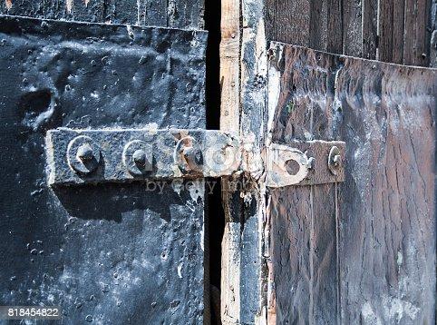 894368086 istock photo old black door with rusty details. background, vintage. 818454822