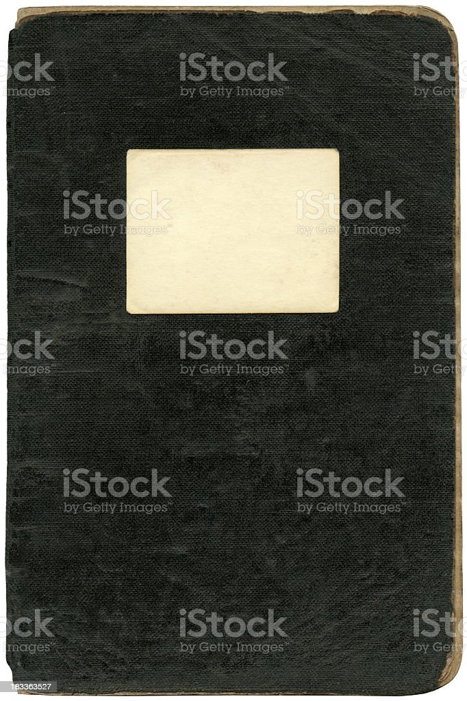 Old black notebook's cover stock photo