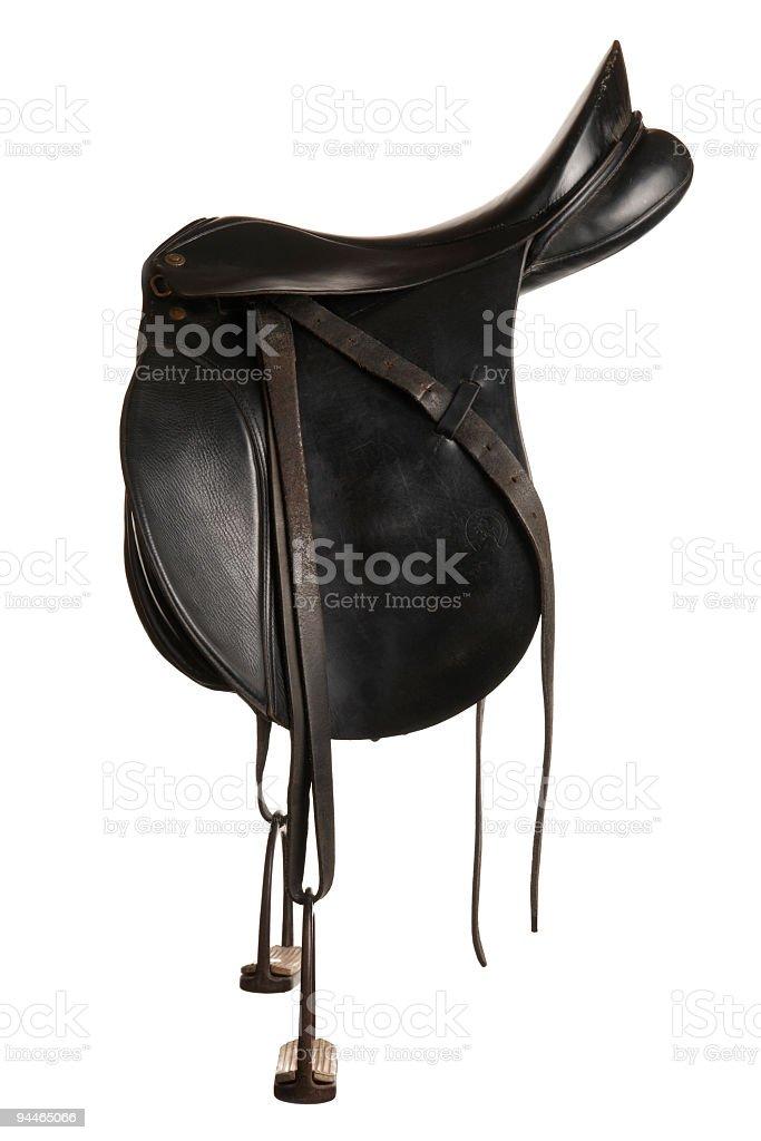 old black saddle stock photo