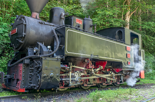 Restored old vintage steam train built at Resita, Romania.