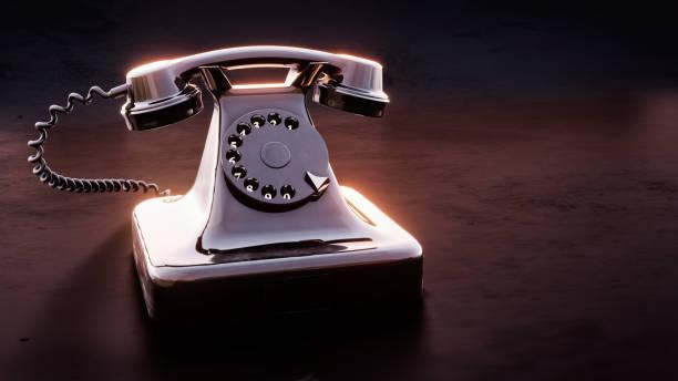Altes schwarzes Telefon 3d Illustration – Foto