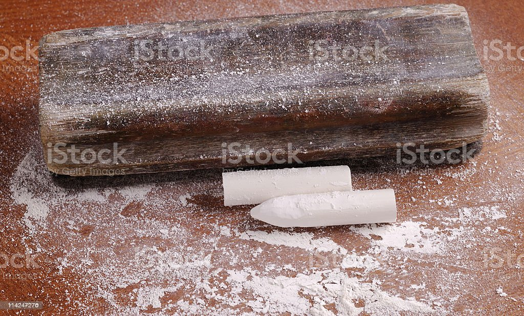 Old blackboard duster and chalk with chalk dust stock photo