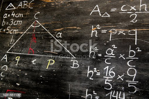 istock Old blackboard with mathematical calculations and drawings 1031551132