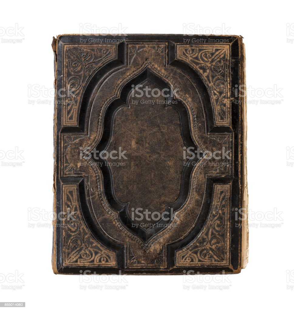 Old blank book cover stock photo