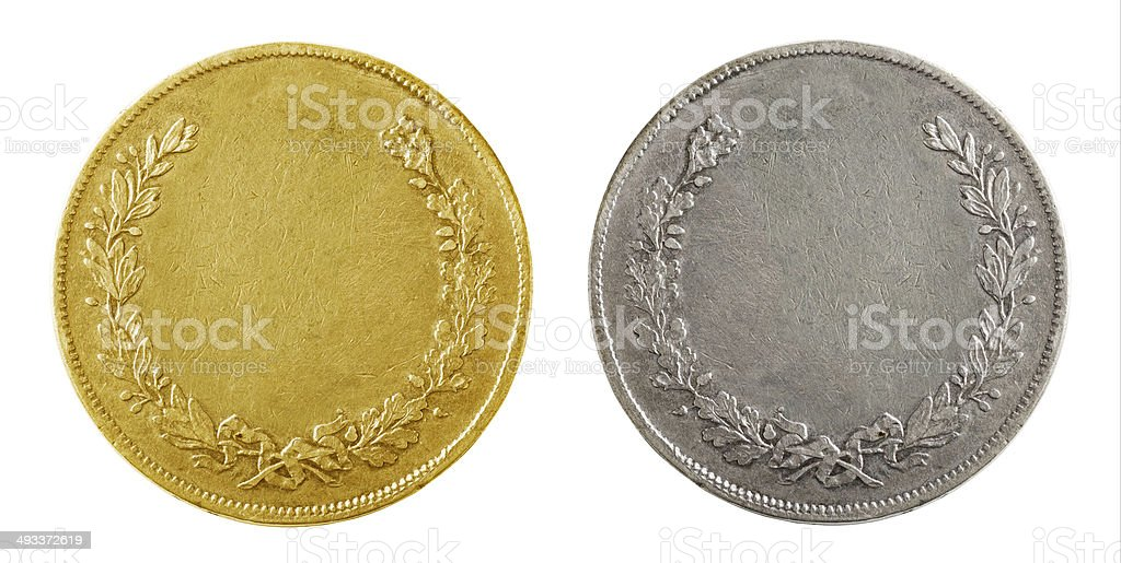 Old blank coins stock photo
