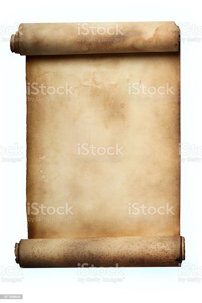 Old blank manuscript paper over a white background royalty-free stock photo