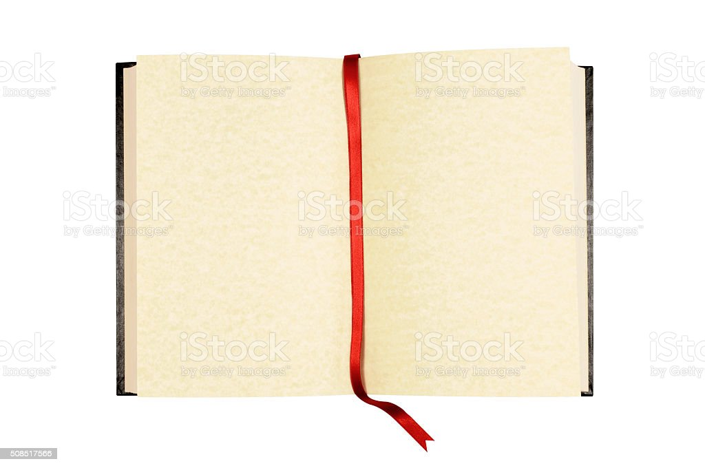 Old blank open book with red ribbon bookmark stock photo