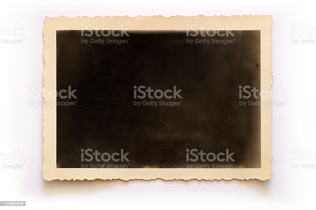 Old blank retro photo frame (with clipping path) stock photo