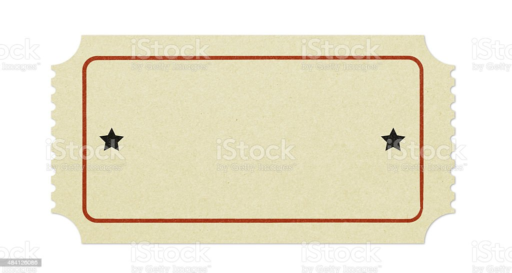 Old blank ticket stock photo