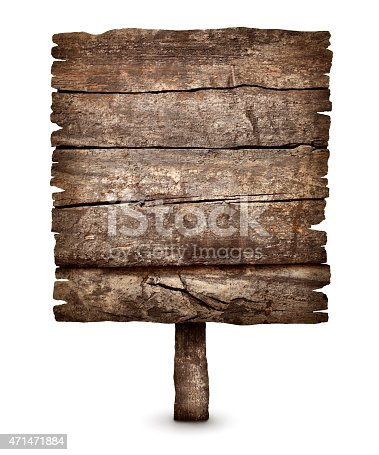 istock Old blank weathered wooden board sign 471471884