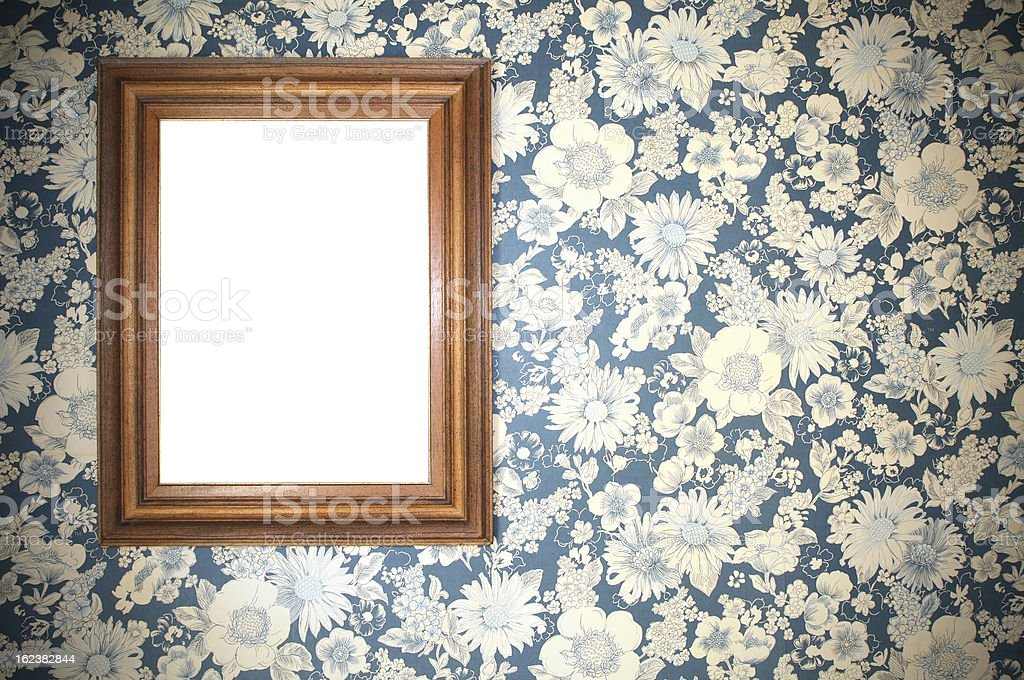 Old blank wooden picture frame stock photo