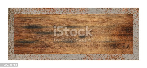 924754302istockphoto Old blank wooden sign with metal border isolated 1000745788