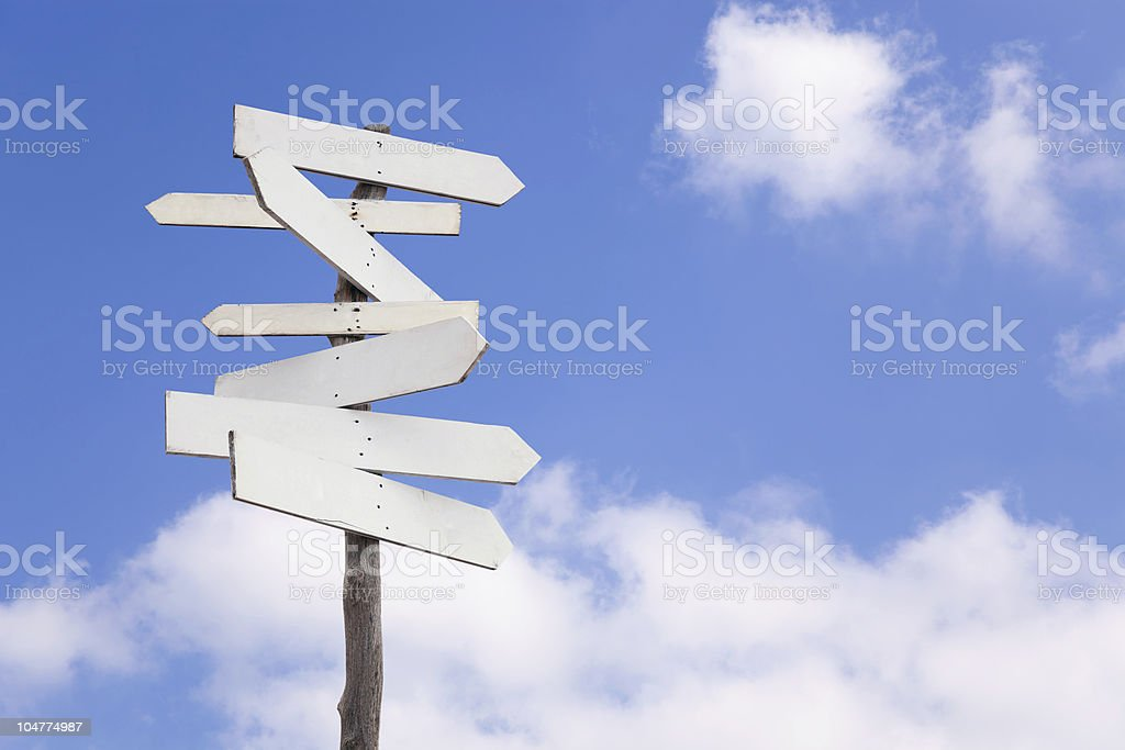 Old blank wooden signpost royalty-free stock photo