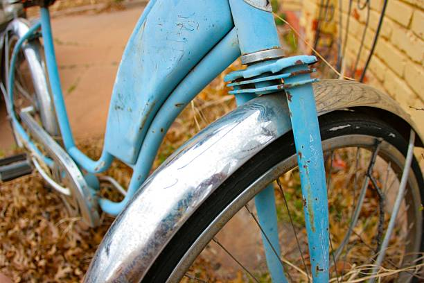 Old Blue Bicycle stock photo