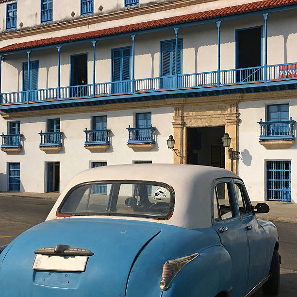 Old blue car stock photo