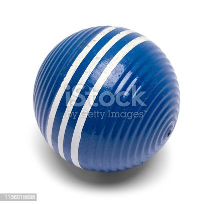 Striped Blue Croquet Ball Isolated on White.