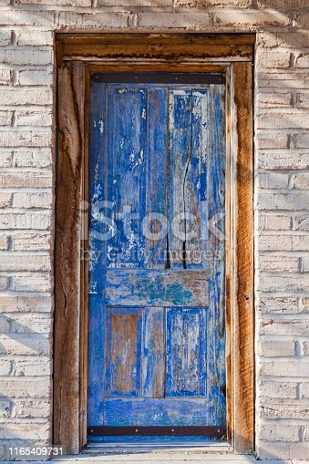 Old blue door in Tombstone, Arizona, USA.