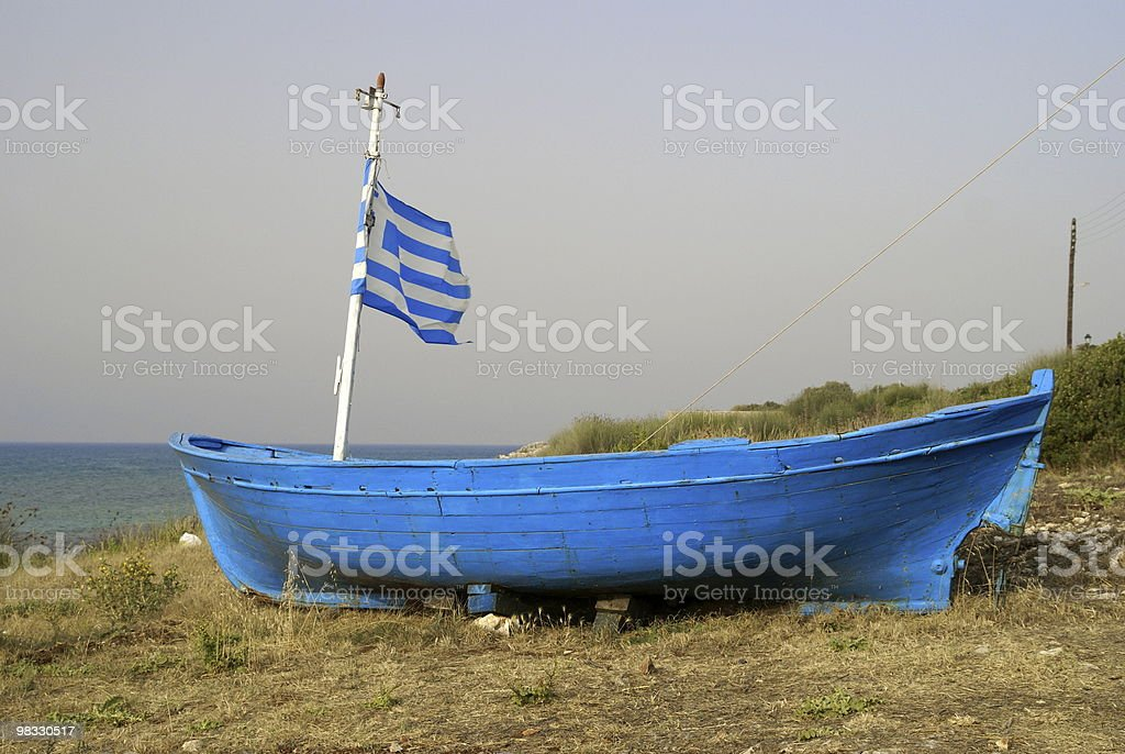 Vecchio fisherboat blu foto stock royalty-free
