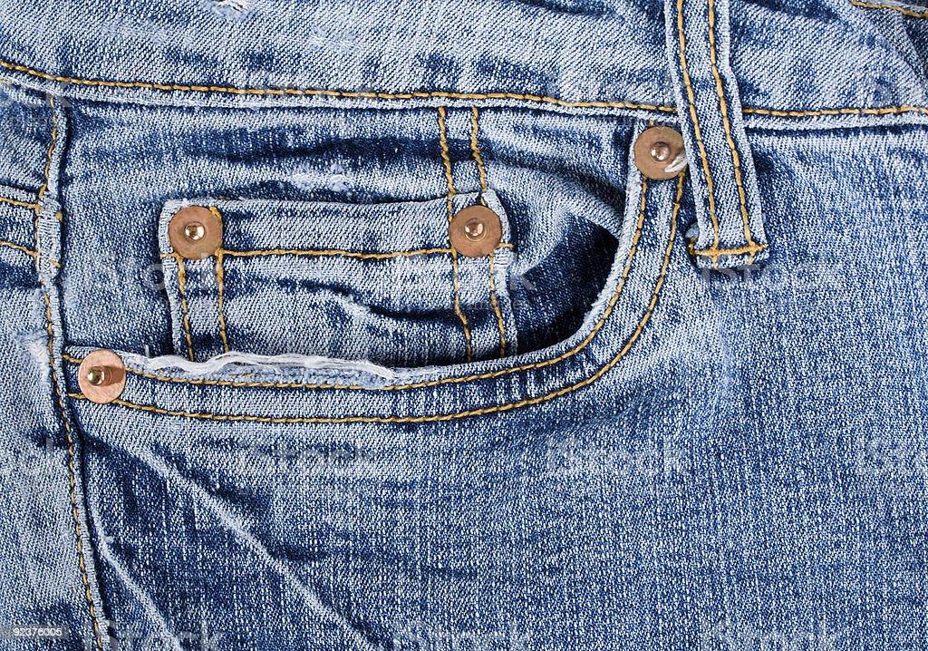 Alten blue jeans Textur mit Tasche Lizenzfreies stock-foto