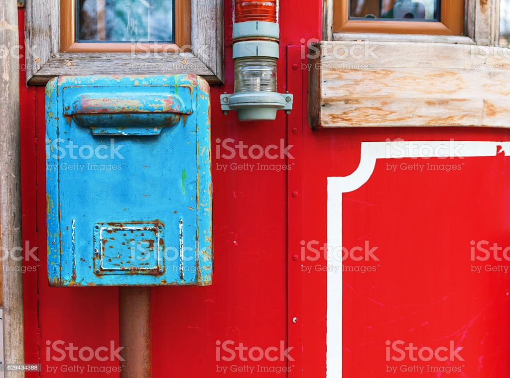 Old Blue Mailbox Hanging On Red Wall Stock Photo 629434388 | IStock