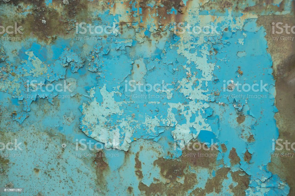 Old blue metal surface stock photo