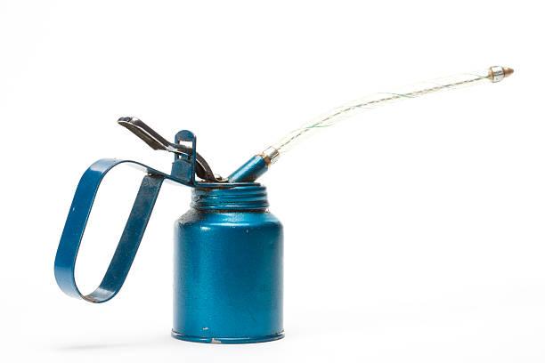 Old azul aceitera - foto de stock