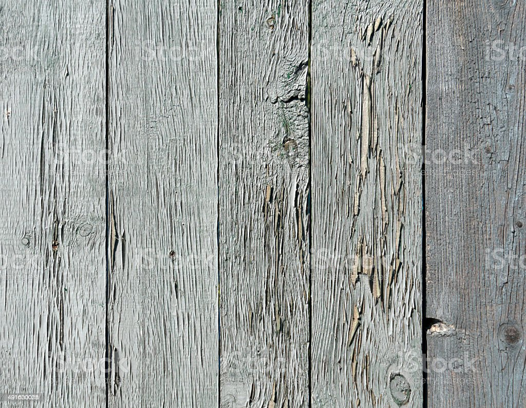 Old blue painted fence from chipboard. stock photo