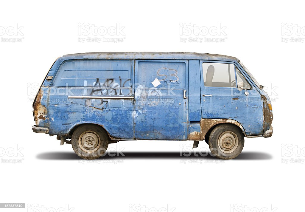 Old blue van stock photo