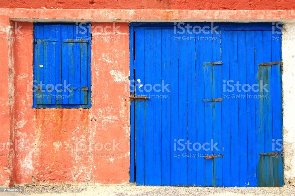 Old blue wooden door 免版稅 stock photo