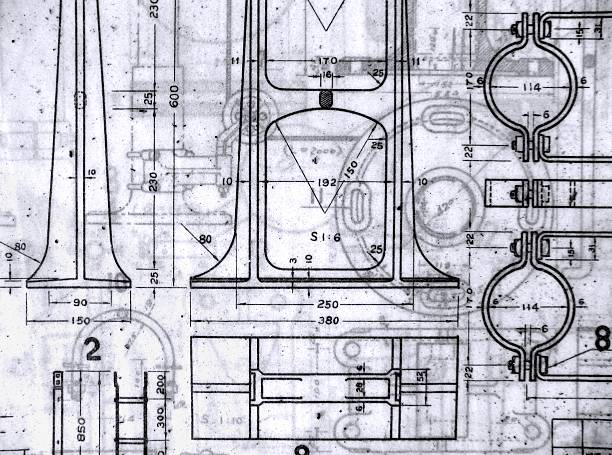 Old Blueprints stock photo