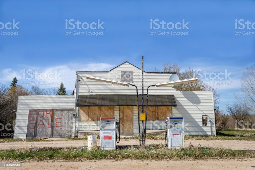 Old Boarded Up Gas Station For Sale Stock Photo Download Image Now Istock