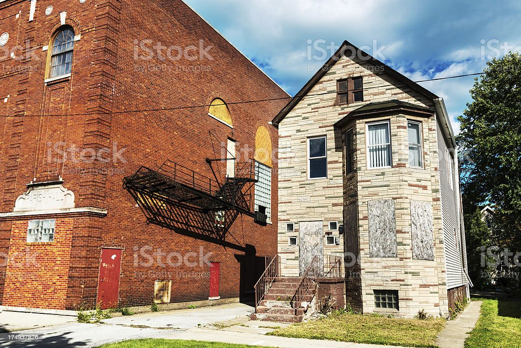 Old Boarded up House in South Chicago royalty-free stock photo
