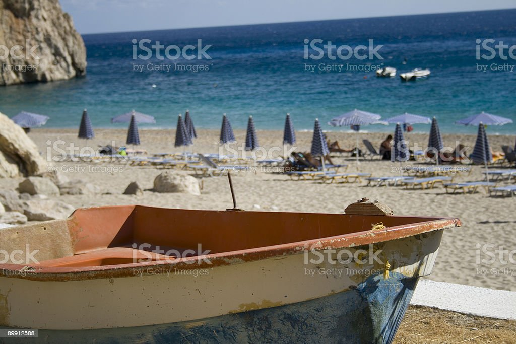 Old boat at Kira Panagia beach, Karpathos, Greece royalty-free stock photo