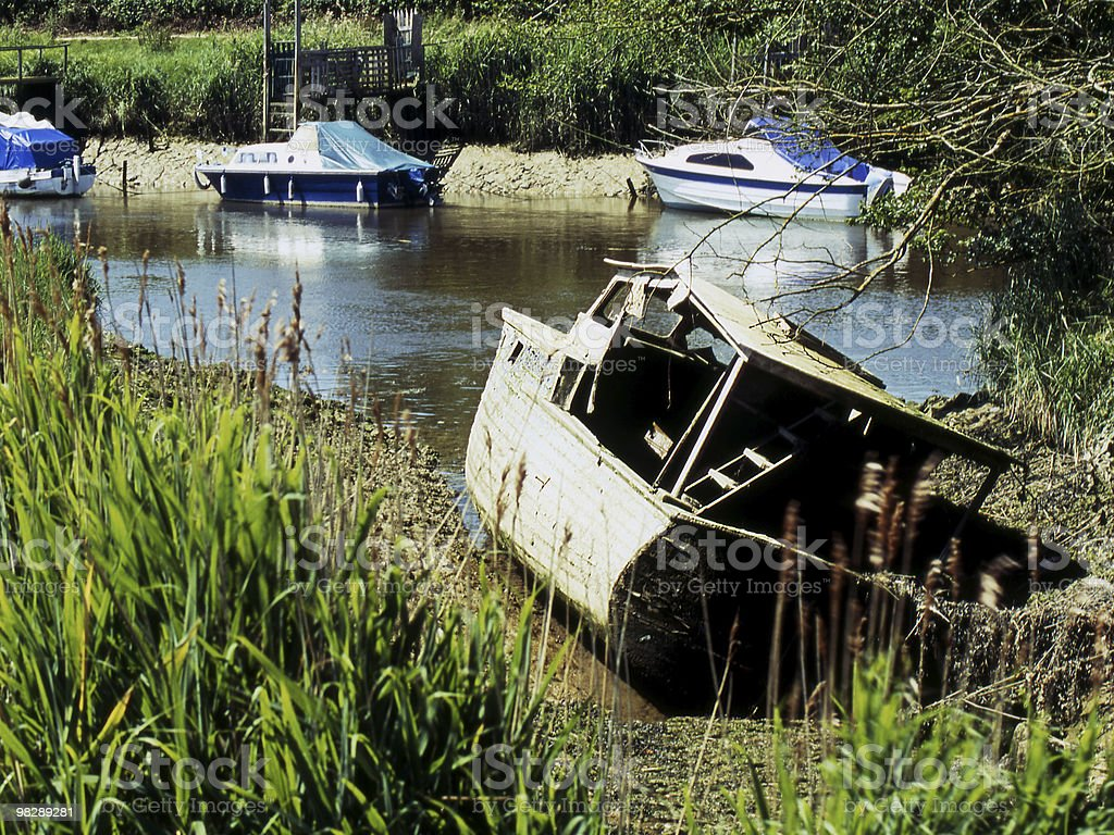 Old Boat by River Arun. Arundel. West Sussex. England royalty-free stock photo