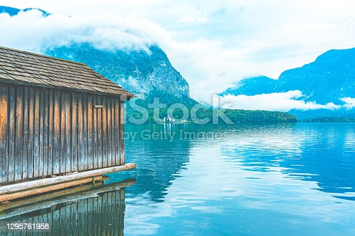 Old boat house at Lake hallstatt in summer
