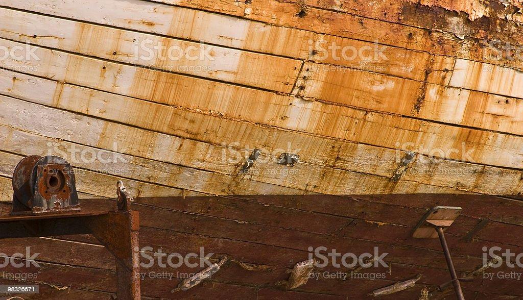 Old Boat in Dry Dock, Lapstrake, Wood, Disrepair, Marine royalty-free stock photo
