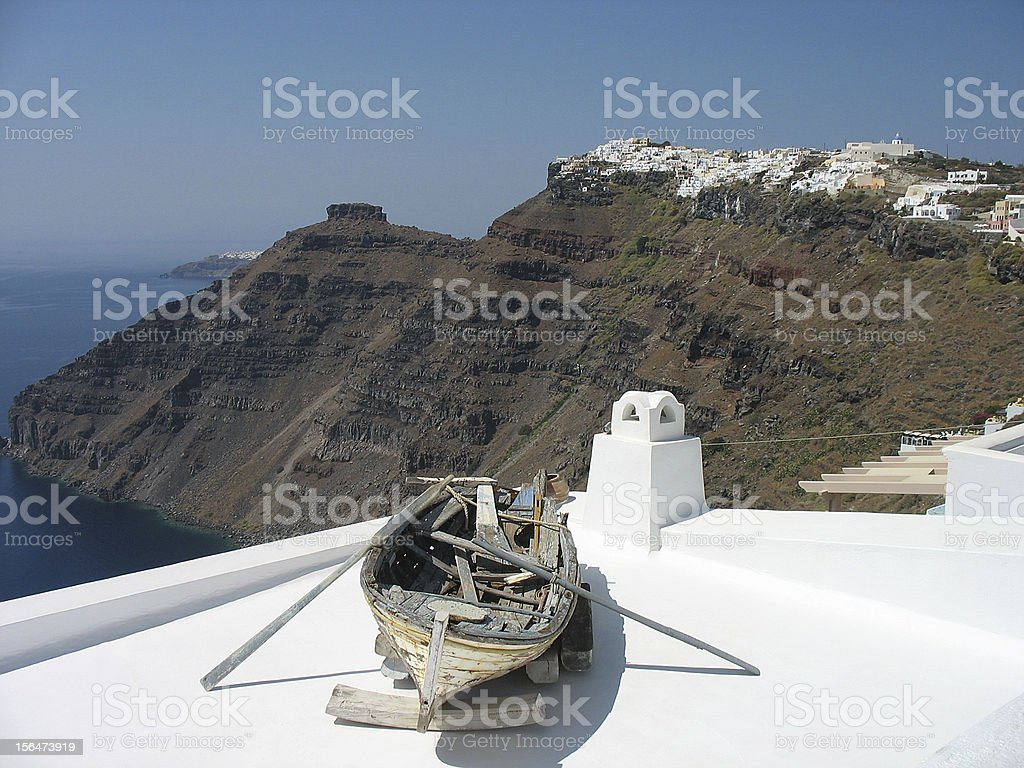Old boat on a rooftop royalty-free stock photo