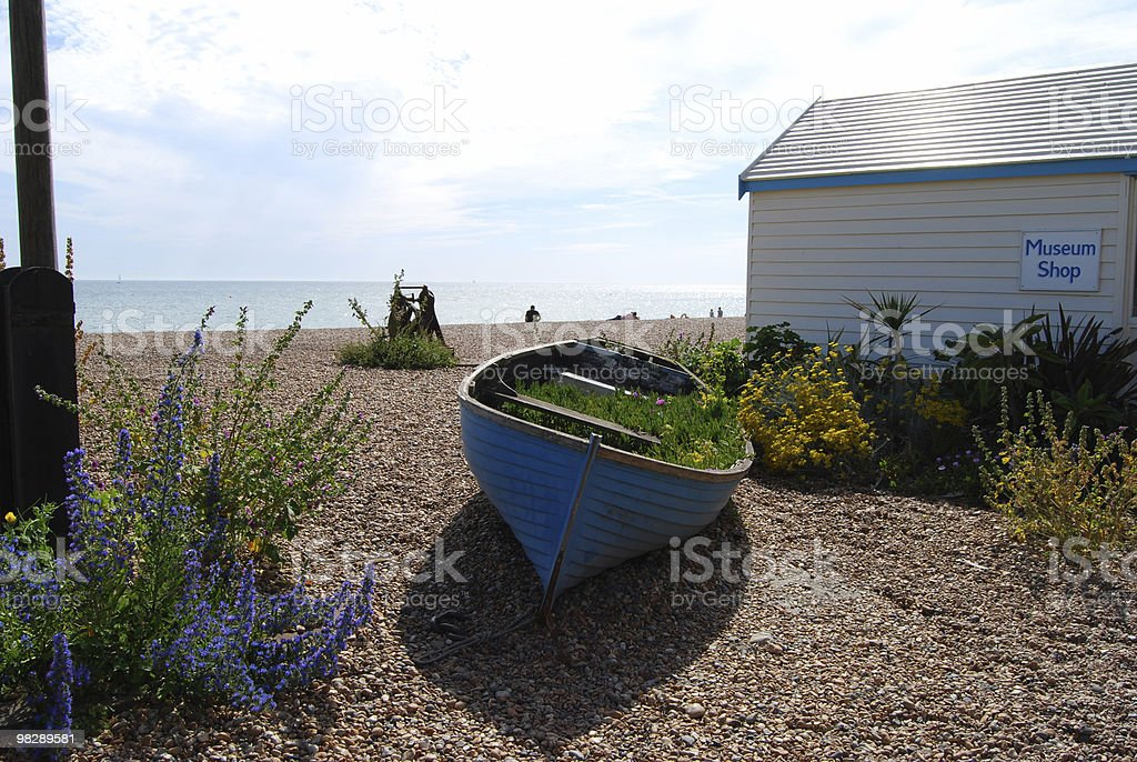 Old boat on Brighton Beach. East Sussex. England royalty-free stock photo