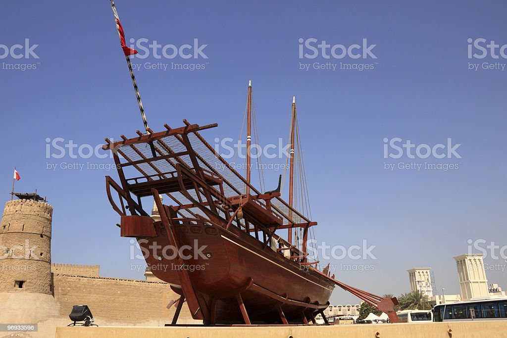 old boat on display outside dubai museum royalty-free stock photo