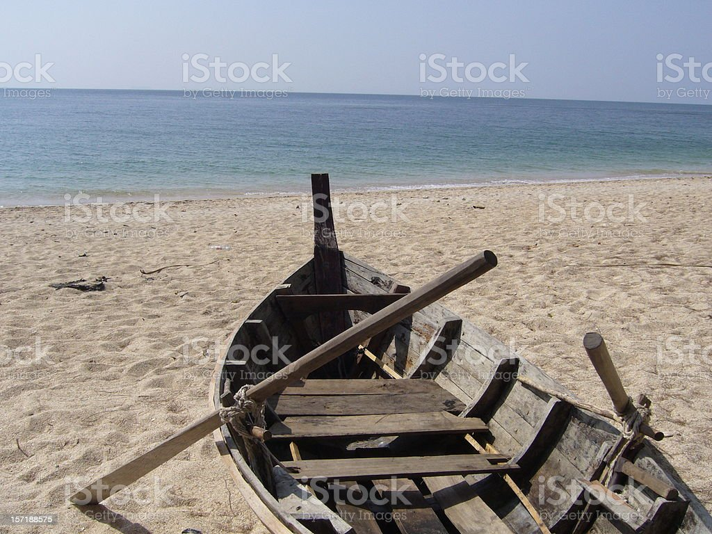 Old boat on the beach royalty-free stock photo