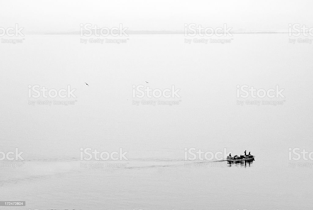 old boat on the sea royalty-free stock photo