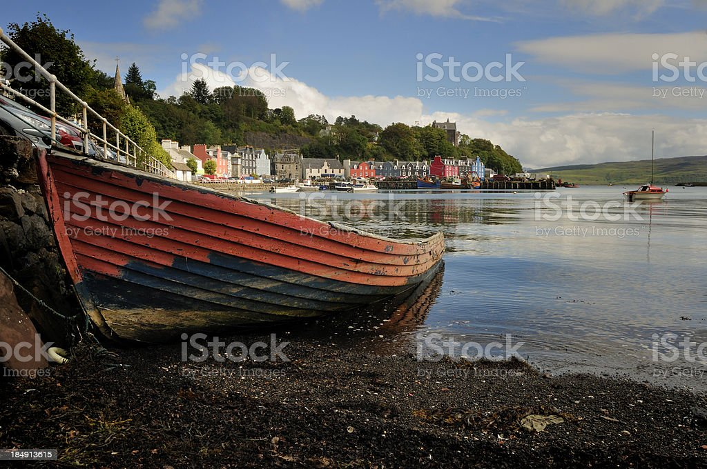 Old Boat on Tobermory Seafront stock photo