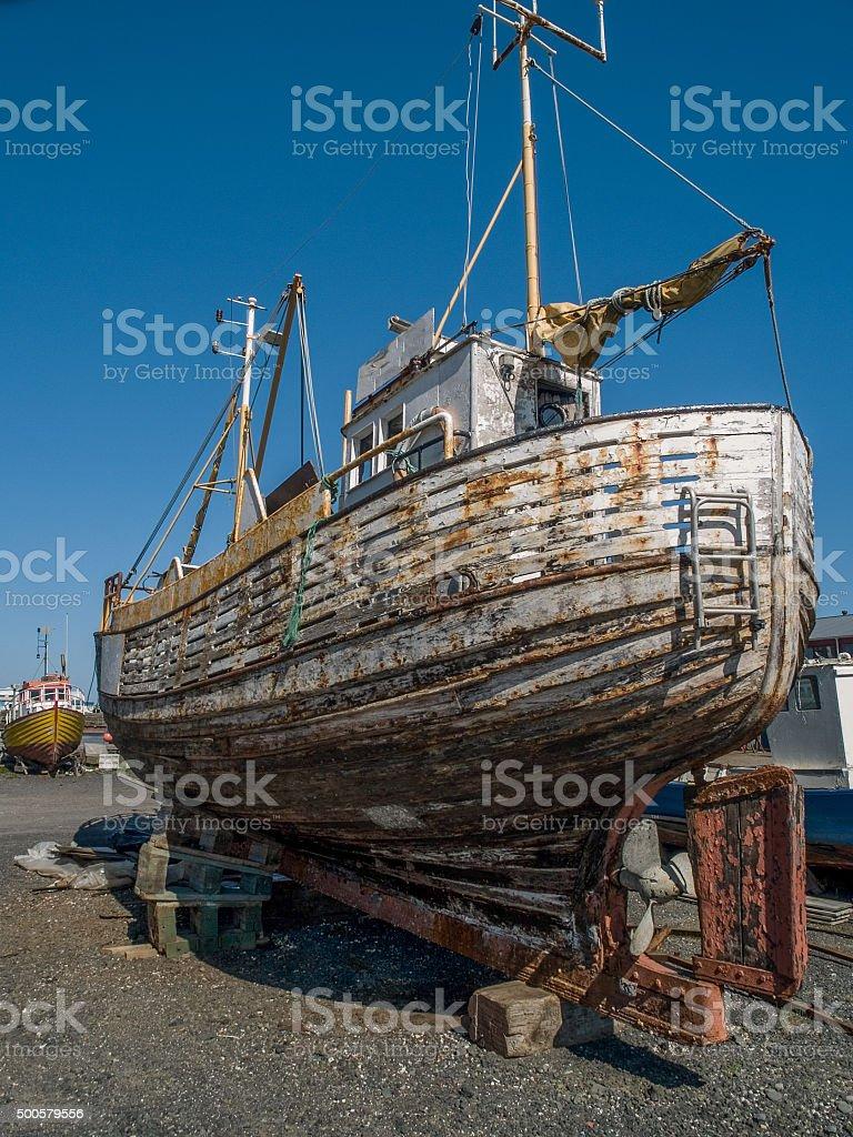 Old Boat Reykjavik stock photo