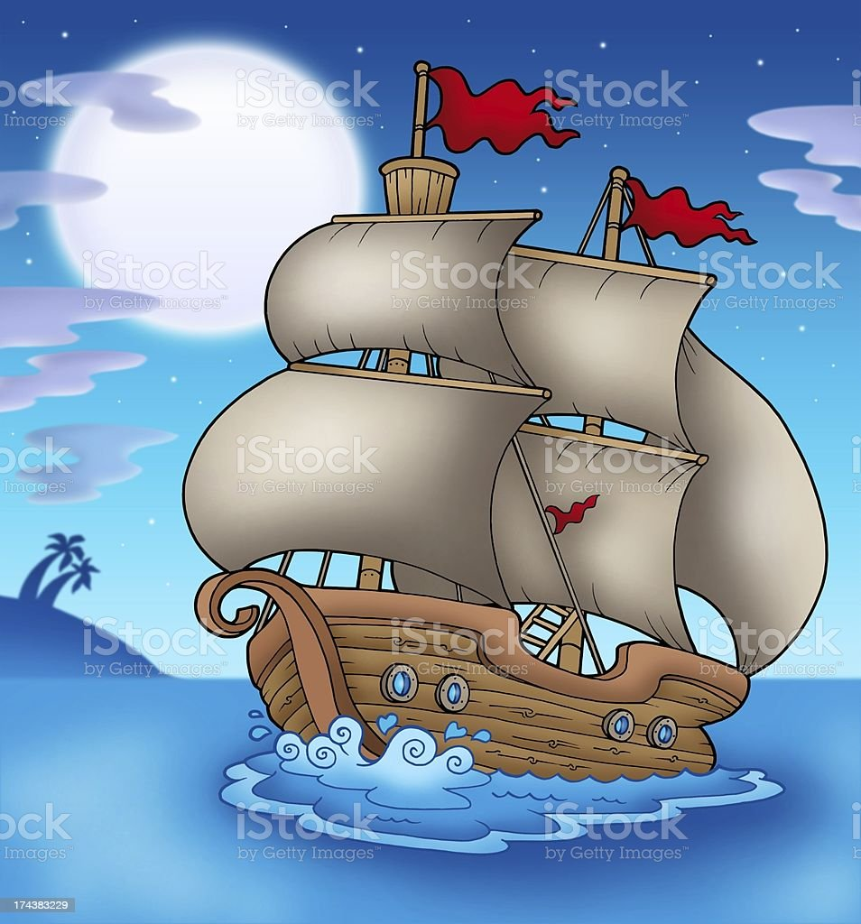 Old boat sailing sea at night stock photo