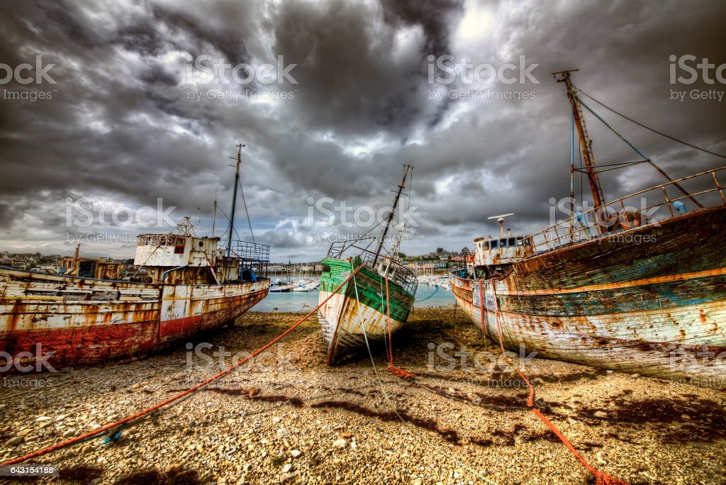 Old Boats at Camaret-sur-Mer, Chateaulin, Brittany stock photo