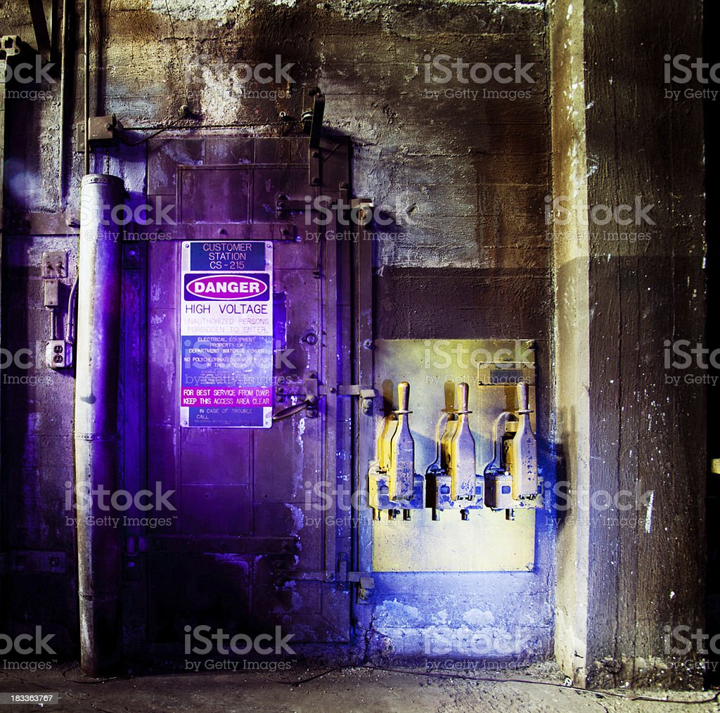 Old boiler room controls stock photo