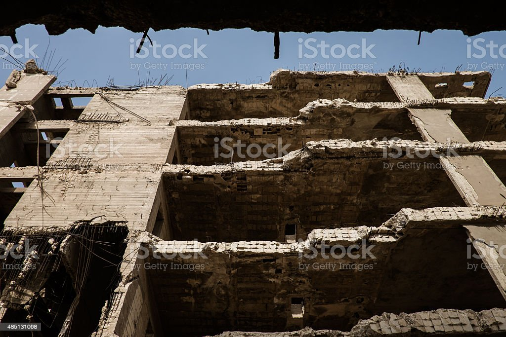 Old bombarded building in Beirut stock photo